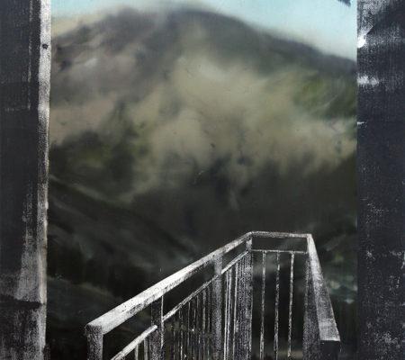 """Eva Nielsen, """"Filin"""", 2018, huile, acrylique et sérigraphie sur toile, 85 x 65 cm"""