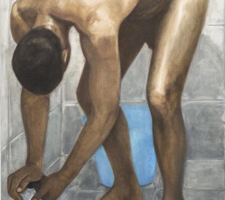 Nathanaëlle Herbelin, La douche, 2018, huile sur toile, 110 x 63 cm