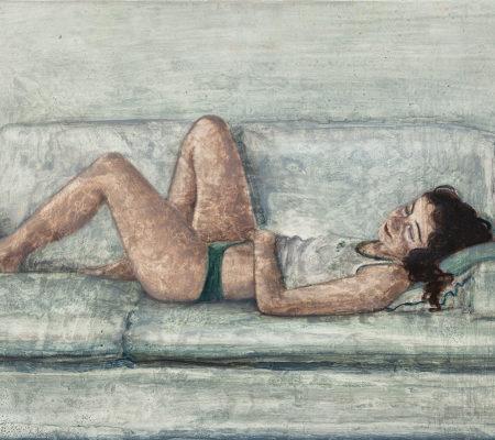 Nathanaëlle Herbelin, Soeur, 2018, huile sur bois, 20 x 30 cm