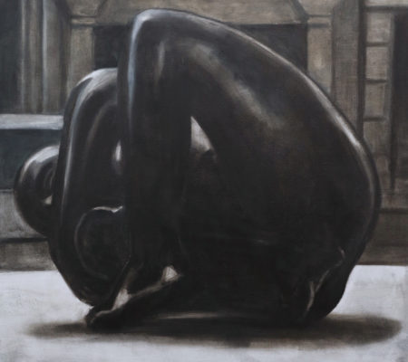 Nathanaëlle Herbelin, Volti, 2018, huile sur toile, 100 x 100 cm