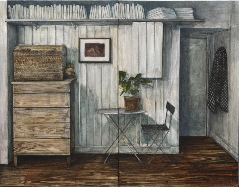 Nathanaelle Herbelin, Espèce d'espace, 160x208cm, huile sur toile, 2018