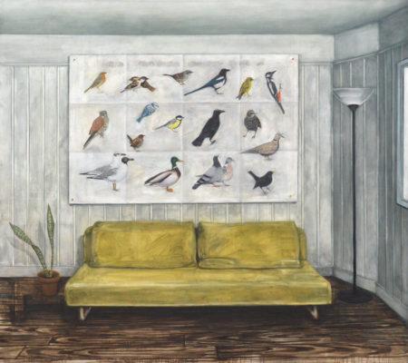 Nathanaelle Herbelin, La Conférence des_Oiseaux de Paris et de sa banlieue, 2018, huile sur toile, 160 x 180 cm