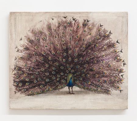 """Nathanaëlle Herbelin, """"Paon"""", 2018, huile sur bois, 38 x 46 cm"""