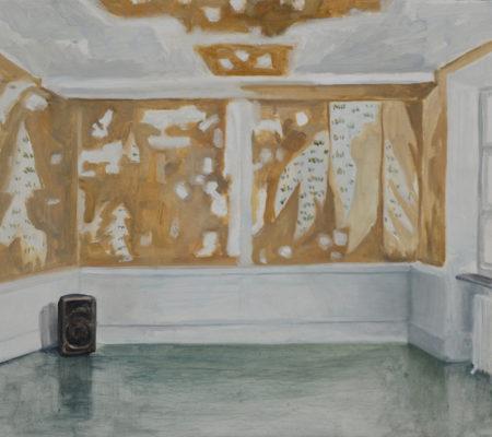 """Nathanaëlle Herbelin, """"P.A.F"""", 2018, huile sur bois, 36 x 46 cm"""