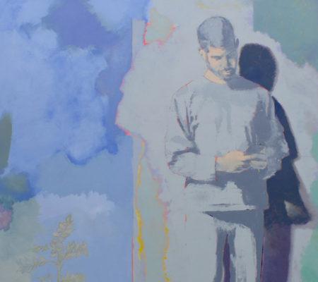 """Simon Martin, """"Porte-fenêtre, smartphone et fleurs sauvages"""", 2019, acrylique et huile sur toile, 195 x 160 cm"""
