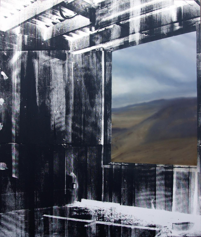 Eva Nielsen, Zamak II, huile, acrylique et encre de sérigraphie sur toile, 200x170cm