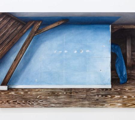 "Nathanaëlle Herbelin, ""Cerulean"", 2018, huile sur toile, 210 x 260 c"