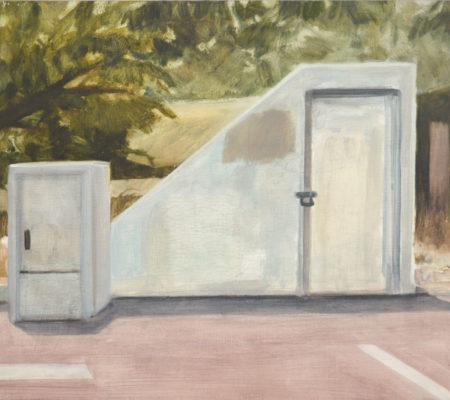 "Nathanaëlle Herbelin, ""Miqulat (Abri), Hulon"", 2017, oil on wood, 38 x 46 cm - Galerie Jousse Entreprise"