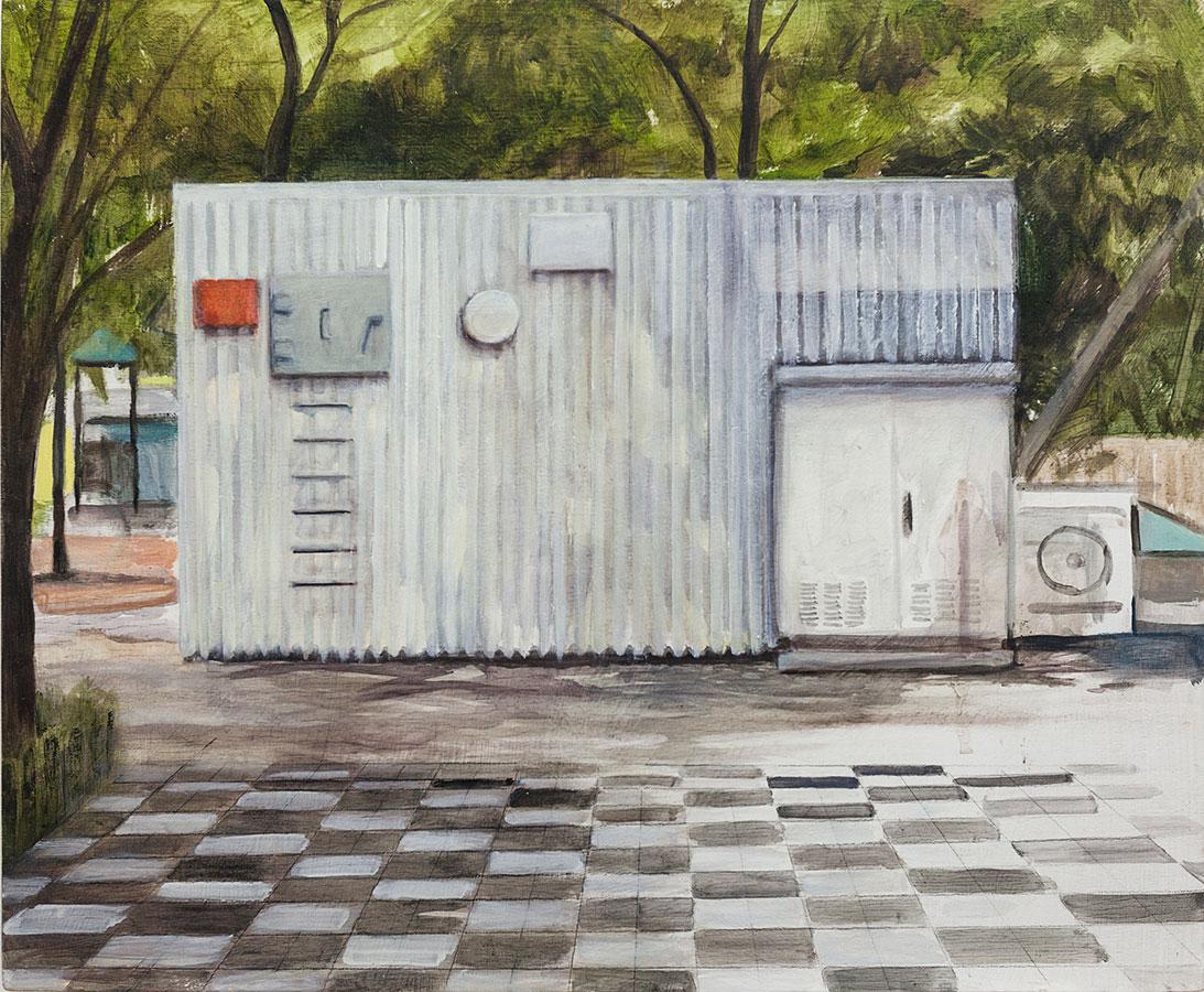 Nathanaëlle Herbelin, Miqulat (Abri) Tel Aviv, huile sur bois, 38 x 46 cm, 2017