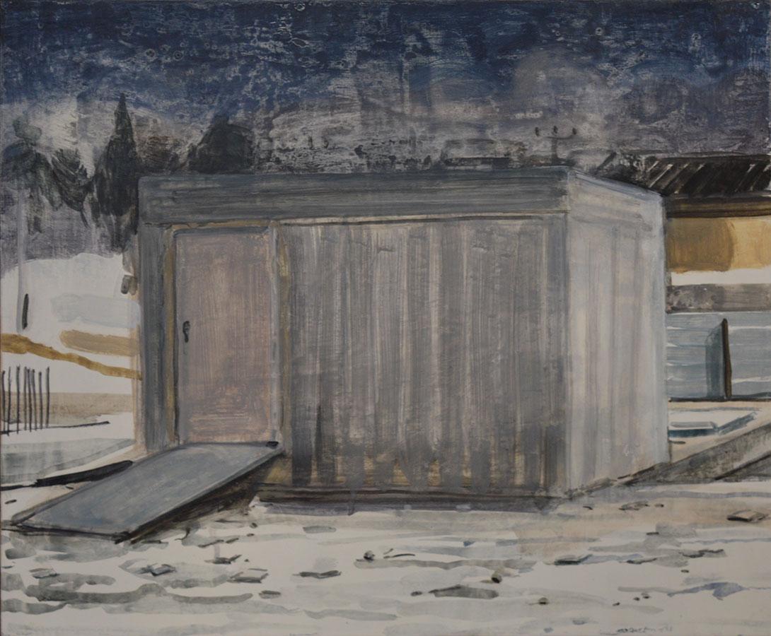 Nathanaelle Herbelin, Miqulat (Abri), huile sur bois, 38 x 46 cm,2017