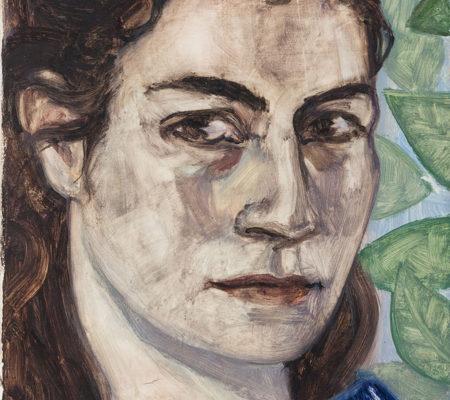 """Nathanaëlle Herbelin, """"Autoportrait"""", 2017, huile sur bois, 22 x 14,5 cm"""