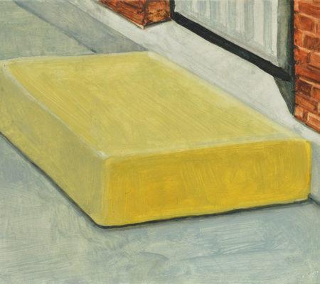"""Nathanaëlle Herbelin, """"Matelas"""", 2017, huile sur bois, 18 x 24 cm"""