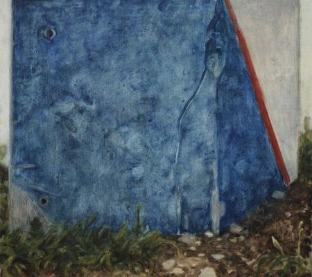 "Nathanaëlle Herbelin, ""Borne Bleue"", 2017, huile sur bois, 30 x 30 cm"