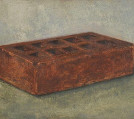 """Nathanaëlle Herbelin, """"Brique, deuxième version"""", 2017, huile sur bois, 19,5 x 26 cm"""