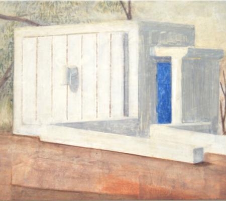 """Nathanaelle Herbelin, """"Miqulat (Abri) au Neguev"""", 2017, huile sur bois"""