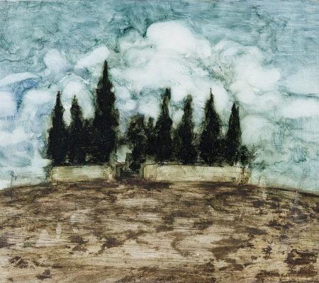 """Nathanaëlle Herbelin, """"Cyprès, deuxième version"""", 2017, huile sur bois, 12,5 x 16 cm"""