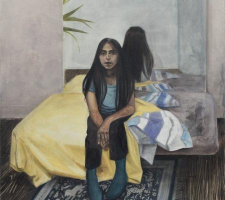 """Nathanaëlle Herbelin, """"Deneth"""", 2017, huile sur toile, 146 x 114 cm"""