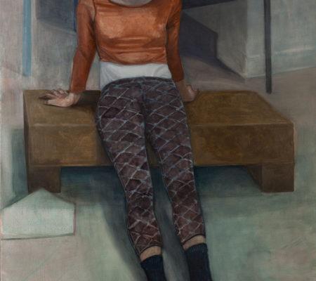 """Nathanaëlle Herbelin, """"Éléné"""", 2017, huile sur toile, 162 x 114 cm"""