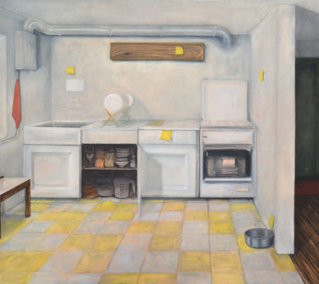 """Nathanaëlle Herbelin, """"Gabriel Garcia Marquez, 100 ans de solitude, Paris, éditions du Seuil, 1968, page 49"""", 2017, huile sur toile, 130 x 185 cm"""