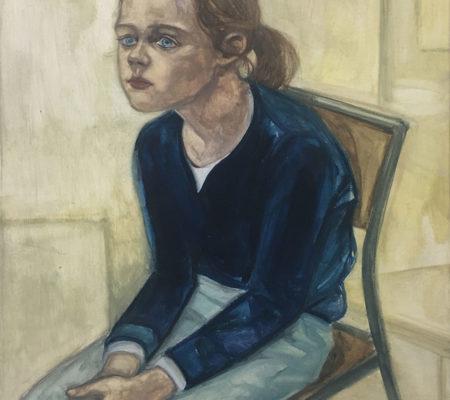 """Nathanaëlle Herbelin, """"Garance"""", 2017, huile sur bois, 46 x 38 cm"""