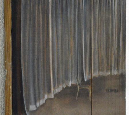 """Nathanaëlle Herbelin, """"Juste Milieu"""", 2015, huile sur bois, 28,5 x 23 cm"""