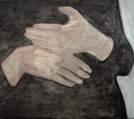"""Nathanaëlle Herbelin, """"Les mains d'Éléné"""", 2017, huile sur toile, 23,5 x 28 cm"""