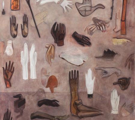"""Nathanaëlle Herbelin, """"Mains de la collection Fabrice Roger-Lacan"""", 2017, huile sur toile, 162 x 130 cm"""