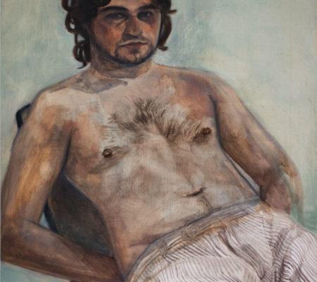 """Nathanaëlle Herbelin, """"Mathieu"""", 2017, huile sur toile, 46 x 38 cm"""