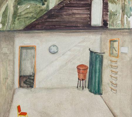 """Nathanaëlle Herbelin, """"Miqulat (Abri), Nitsanim"""", 2017, huile sur bois, 40 x 30 cm - Galerie Jousse Entreprise"""