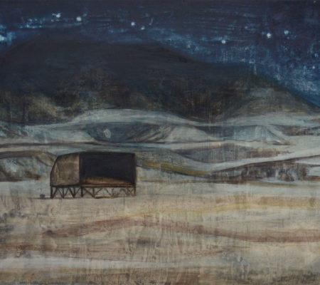 """Nathanaëlle Herbelin, """"Nuit dans le Neguev"""", 2017, huile sur bois, 38 x 46 cm"""