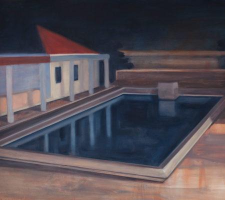 """Nathanaëlle Herbelin, """"Piscine à Lisbonne"""", 2017, huile sur bois, 130 x 195 cm"""
