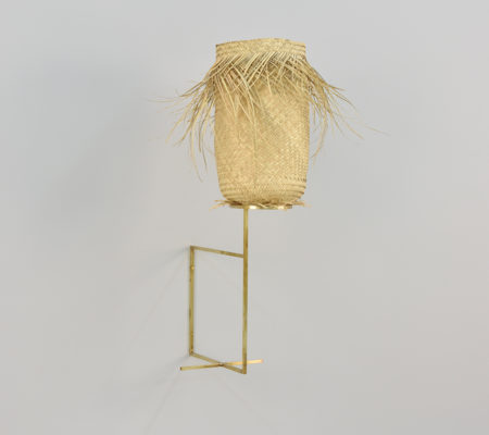 "Seulgi Lee, ""W / Coyote, W / Usatcha"", 2017, palm heart, brass, 32 x 17 x 17 cm"