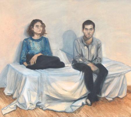"Nathanaëlle Herbelin, ""Simon et Christine"", 2015, huile sur toile, 130 x 162 cm"