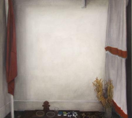 """Nathanaëlle Herbelin, """"Temple"""", 2016, huile sur toile, 90 x 64 cm"""