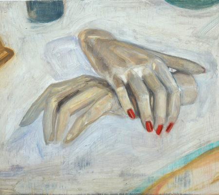 """Nathanaëlle Herbelin, """"Vernis"""", 2017, huile sur bois, 23 x 30 cm"""