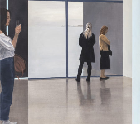 Tim_Eitel_View_into_a room_3 figures_and_2_moments_2019_huile_sur_toile_90x75cm