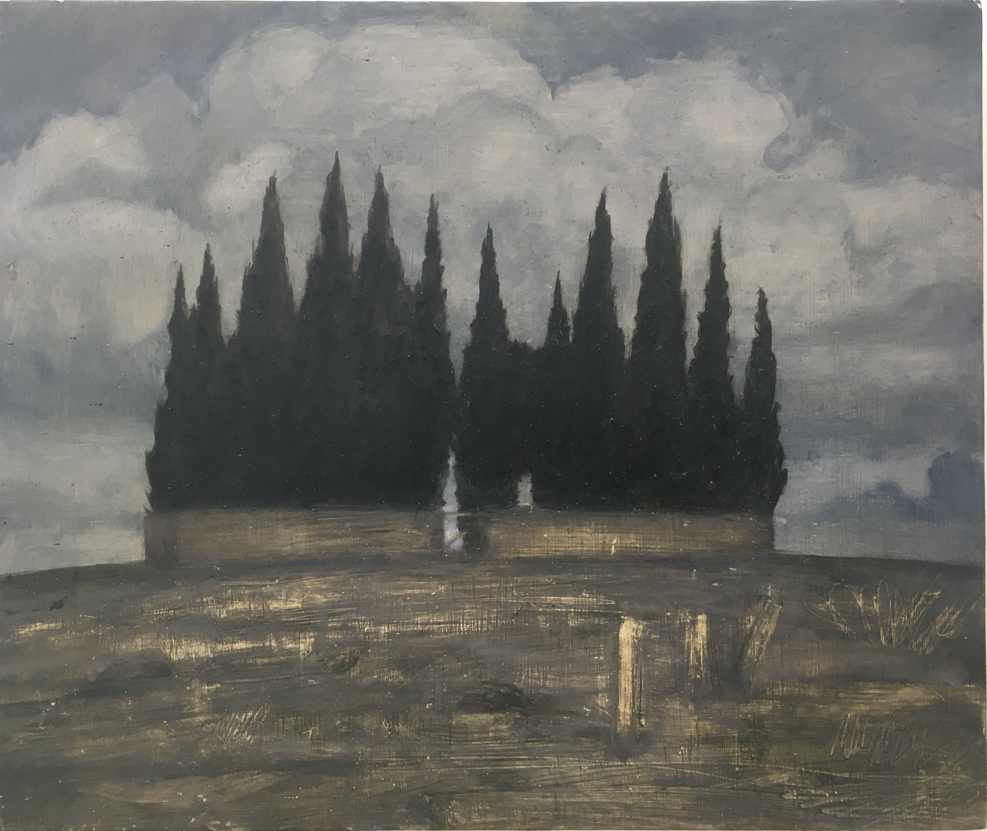 Nathanaelle Herbelin, Cyprès version 4, 2018, 33 x 41 cm, huile sur bois