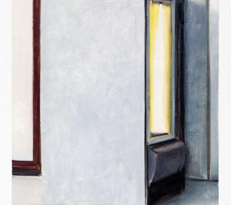 Nathanaelle Herbelin, Distributeur, gris,huile sur bois, 80 x 60 cm