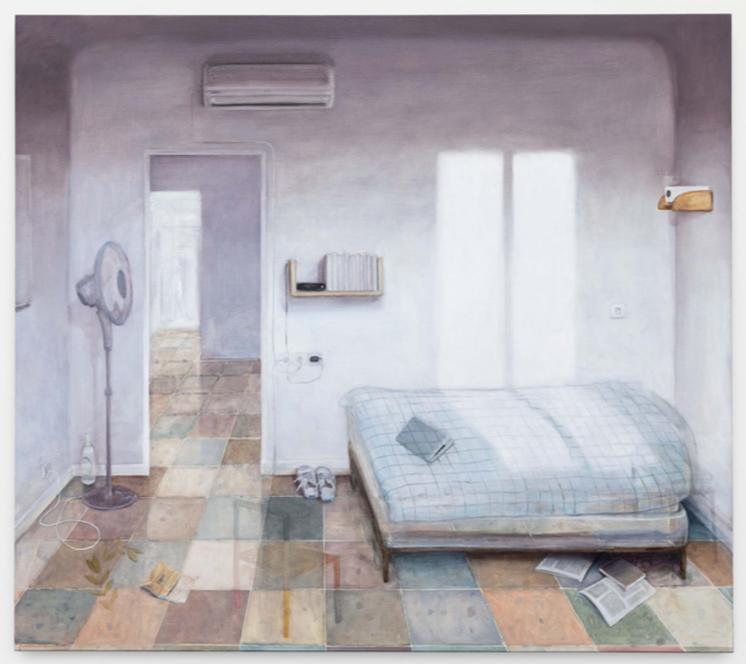 Nathanaelle Herbelin, His room, 2019, huile sur toile, 180x160cm
