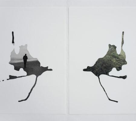 """Rometti Costales, """"Mini Atlas de la Adaptaciones"""", 2011, 3 diptyques -découpage de papier et magazine, 29,7 x 21 cm"""