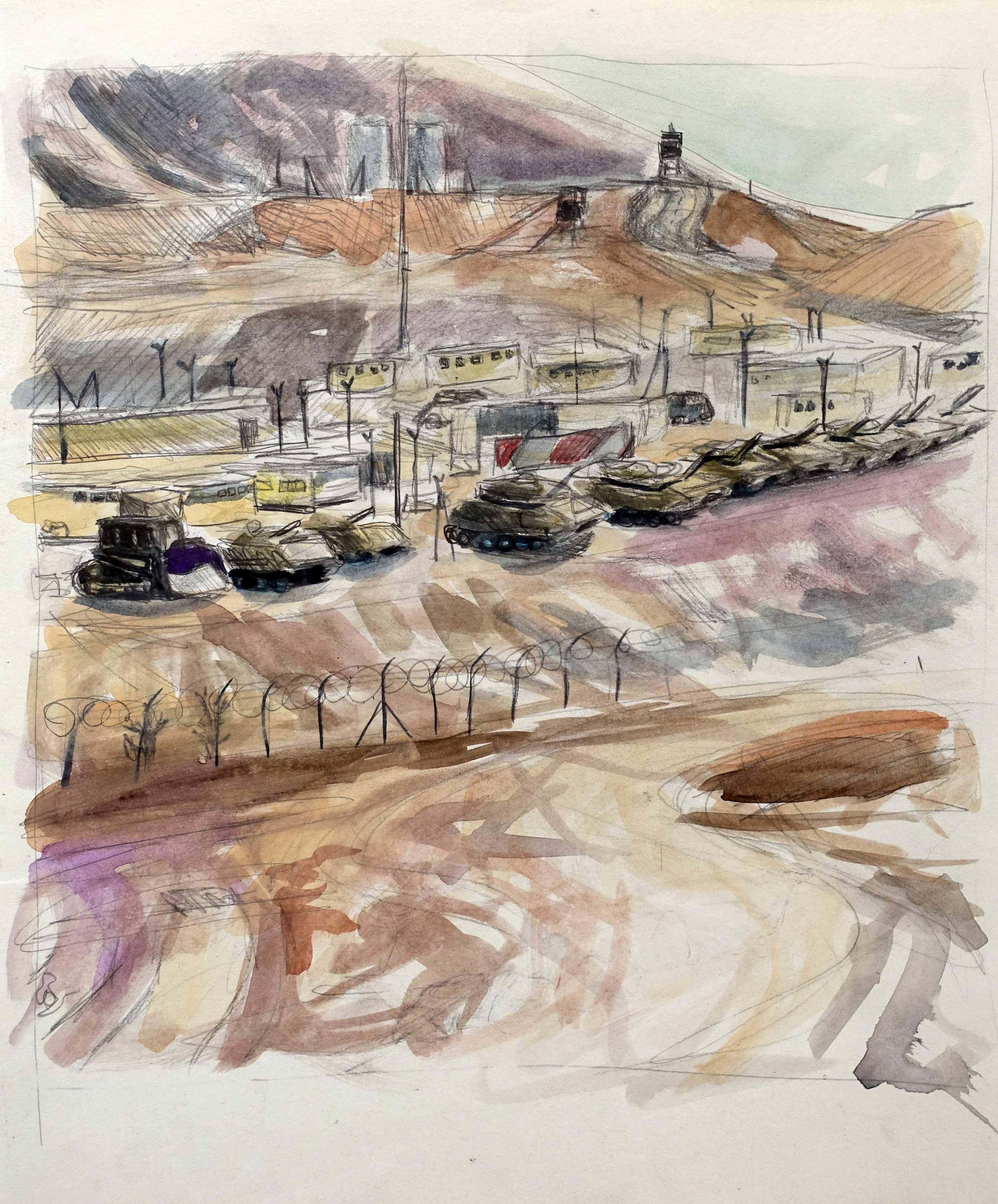 Base militaire Shahamon, Eilat, 2011, aquarelle sur papier, 30x25cm