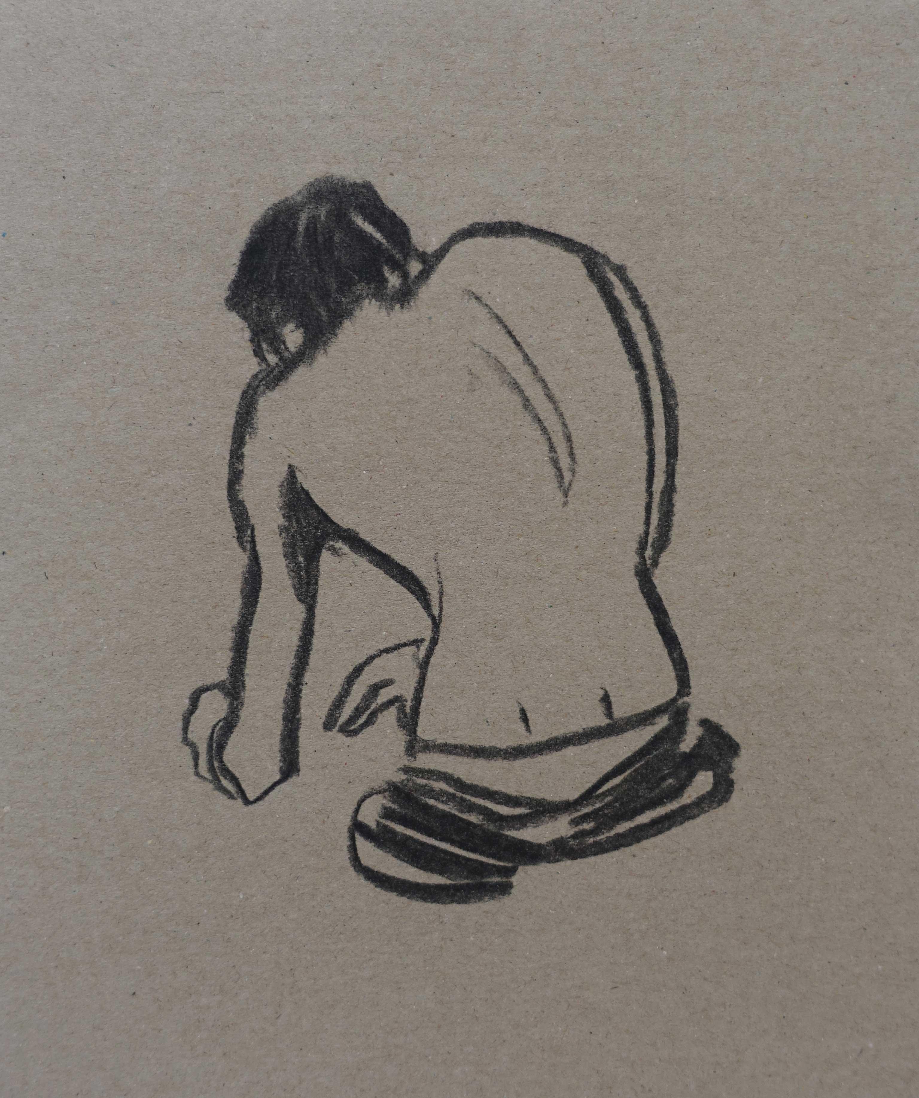 Monstre 2, 2015, fusain sur papier, 21x17,5 cm