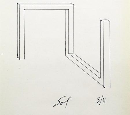 """Sol LeWitt, """"Drawing for Incomplete Open Cube 5/11"""", 1973,encre sur papier,28 x 21,5 cm (sans cadre), 39,5 x 31 cm (avec cadre)"""