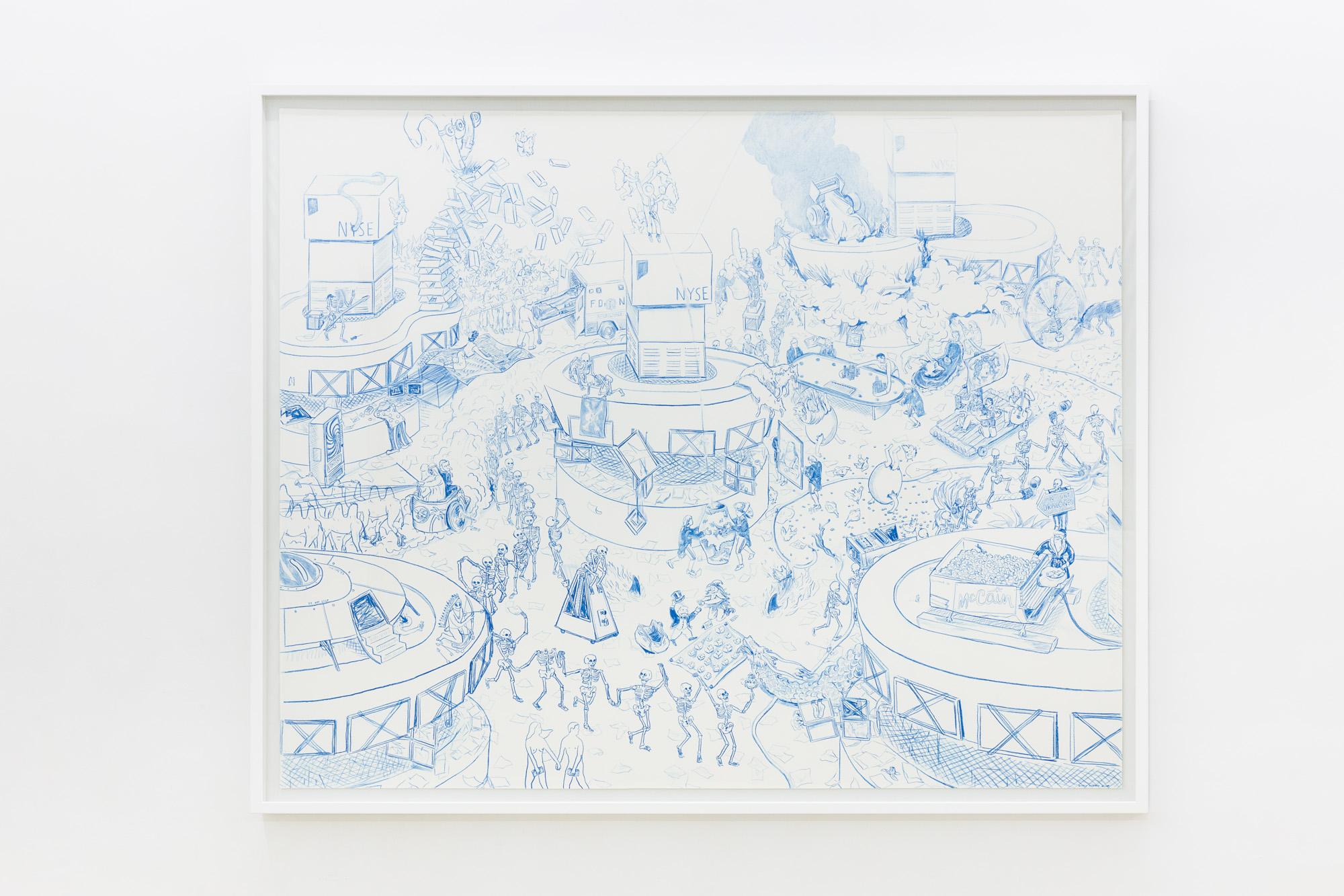 Bianca Argimon, Blue Waltz, 2019, crayon sur papier aquarelle, 110 x 140 cm