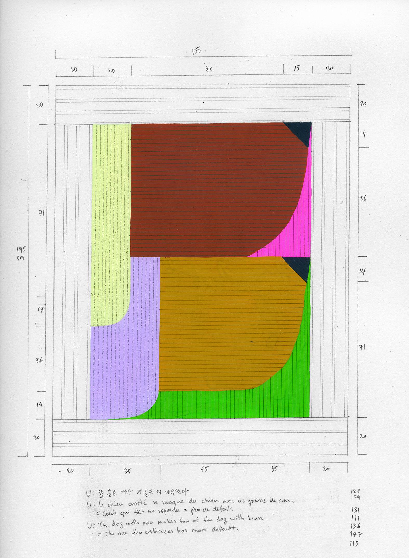 Seulgi Lee, U : le chien au pelage crotté se moque du chien avec les taches de grains de son, 2020, techniques mixtes, 30 x 23 cm