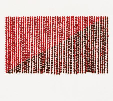 """Rometti Costales, """"Le drapeau de l'Anarquismo Mágico"""", 2013, graines de huayruro, fil de cuivre, 44 x 30 cm"""