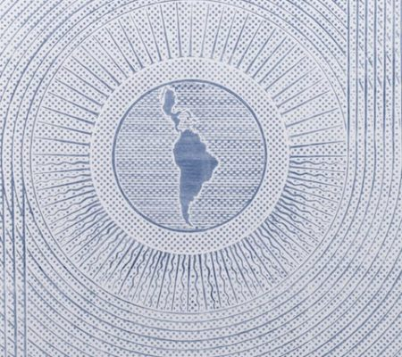 "Rometti Costales, ""Latinskaya Amerika"", 2011, diptyque, transfert sur papier carbone, 133 x 96 cm"