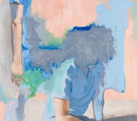 Simon Martin, Deux amoureux sous une parabole, 2019, huile sur toile, 205 x 105 cm_web