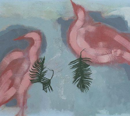 "Simon Martin, ""Les Ibis"", 2018, huile sur toile, 60 x 73 cm"