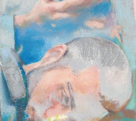 Sans titre, bouquet de fleurs et smartphone, 2020, pastel sec sur papier, 24 x 19 cm